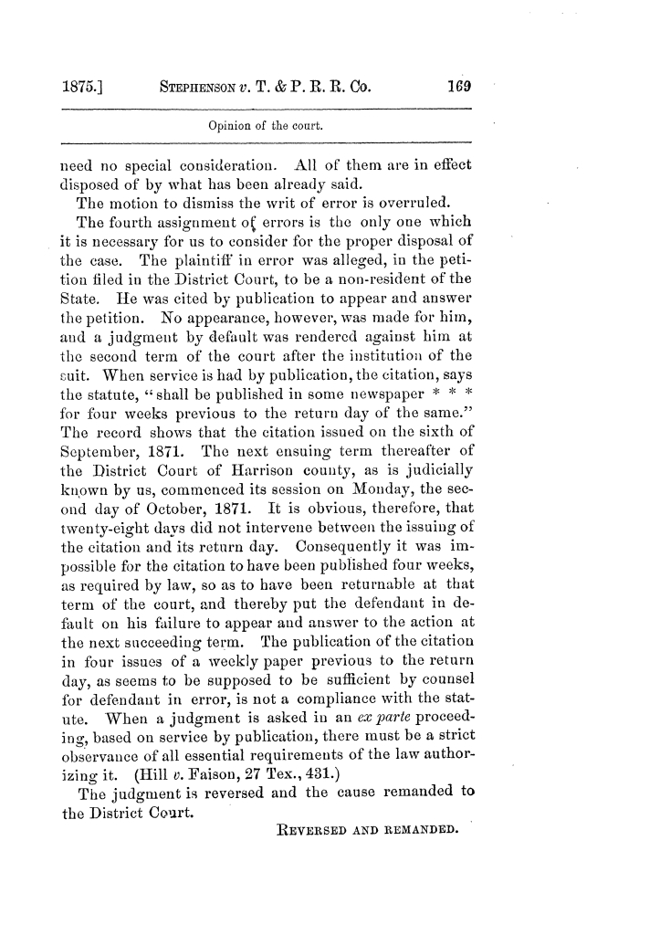 Cases argued and decided in the Supreme Court of Texas, during the latter part of the Tyler term, 1874, and the first part of the Galveston term, 1875.  Volume 42.                                                                                                      169
