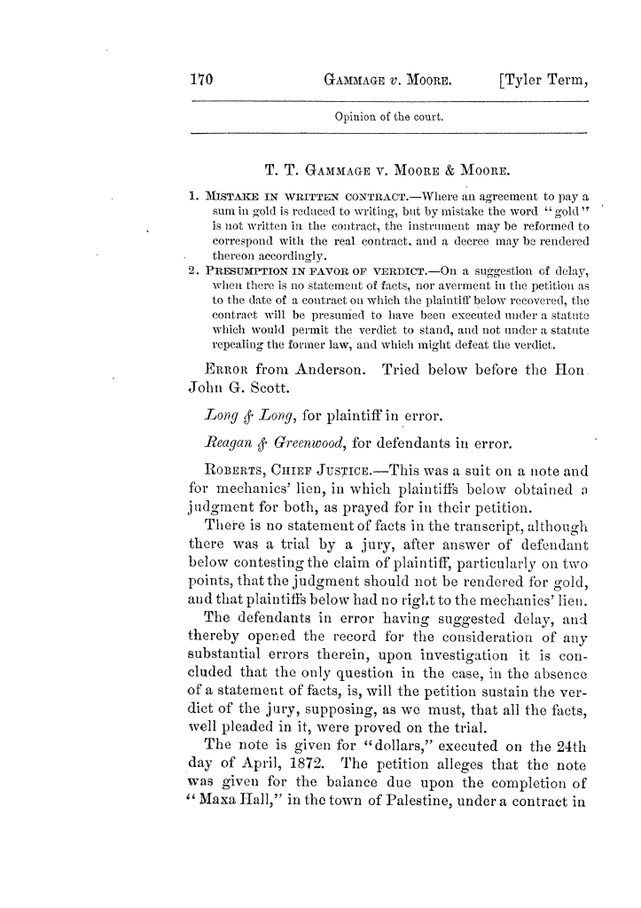Cases argued and decided in the Supreme Court of Texas, during the latter part of the Tyler term, 1874, and the first part of the Galveston term, 1875.  Volume 42.                                                                                                      170