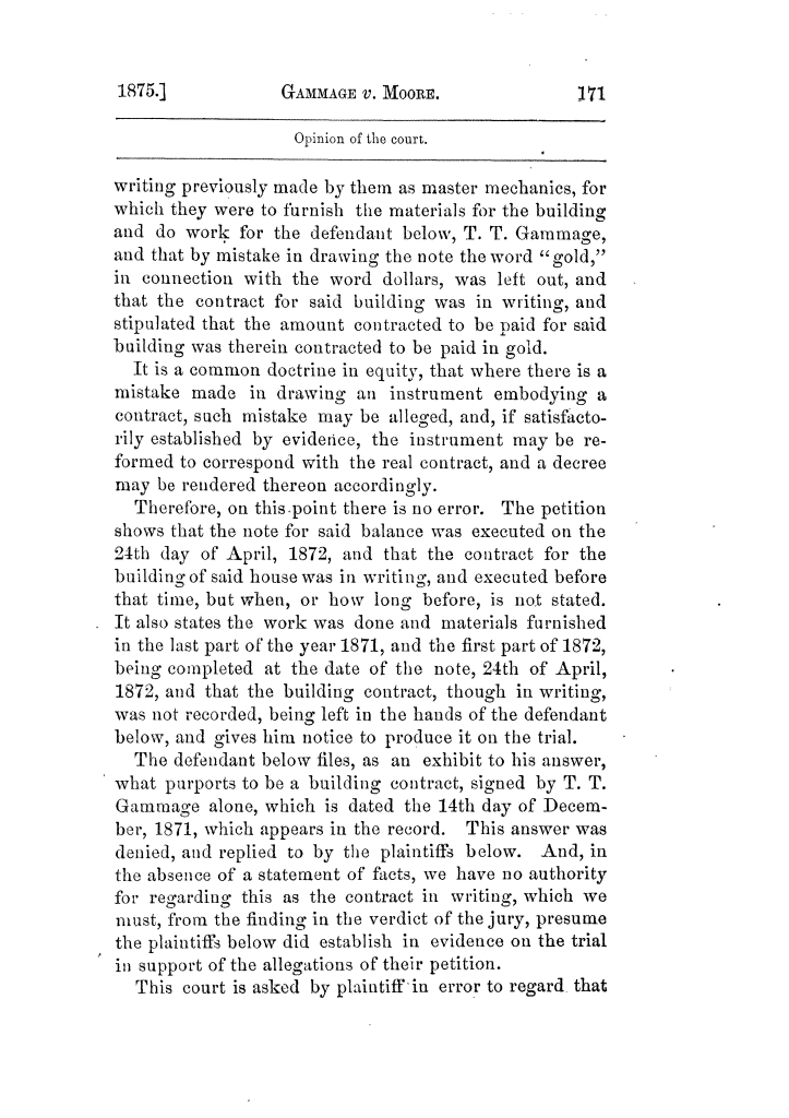 Cases argued and decided in the Supreme Court of Texas, during the latter part of the Tyler term, 1874, and the first part of the Galveston term, 1875.  Volume 42.                                                                                                      171