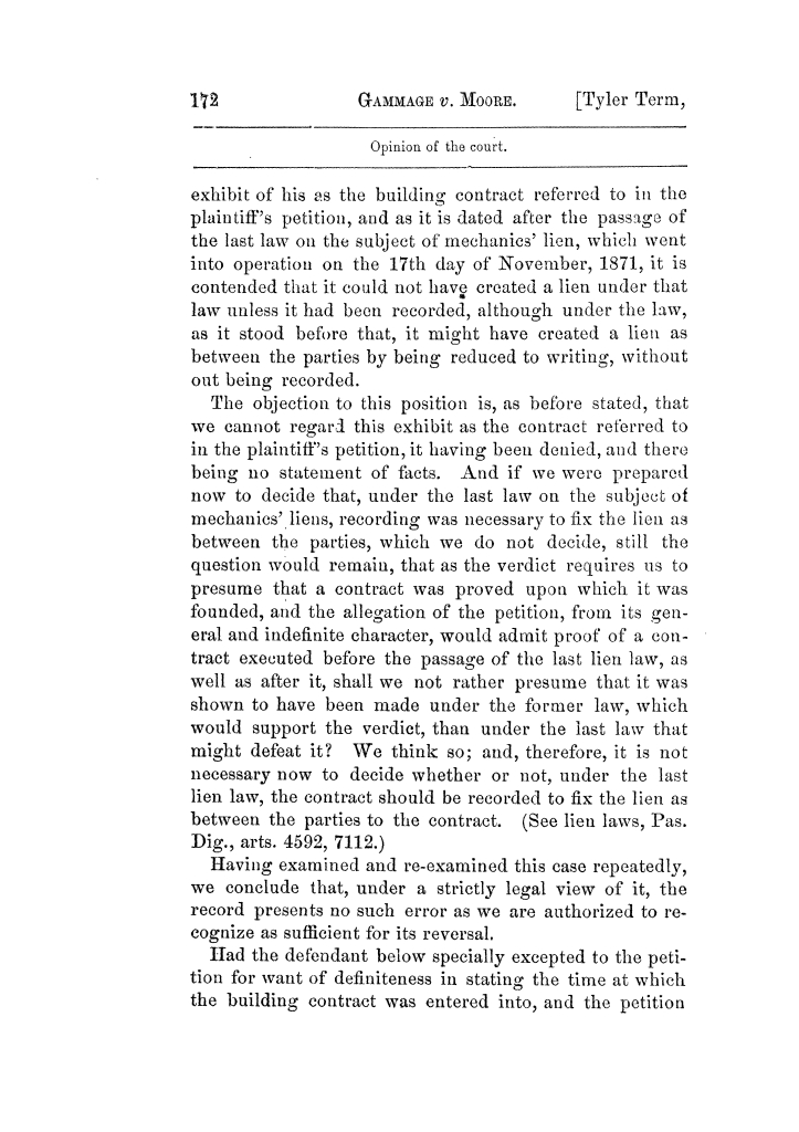 Cases argued and decided in the Supreme Court of Texas, during the latter part of the Tyler term, 1874, and the first part of the Galveston term, 1875.  Volume 42.                                                                                                      172