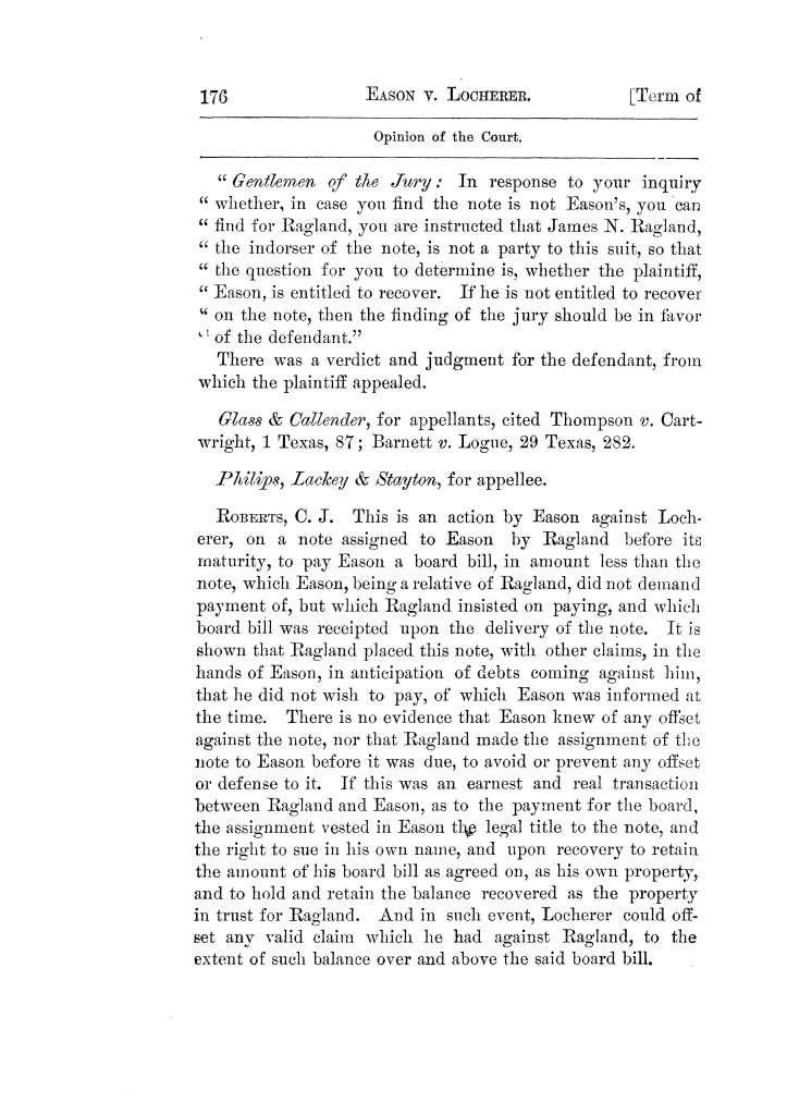 Cases argued and decided in the Supreme Court of Texas, during the latter part of the Tyler term, 1874, and the first part of the Galveston term, 1875.  Volume 42.                                                                                                      176