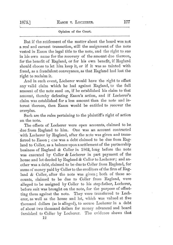Cases argued and decided in the Supreme Court of Texas, during the latter part of the Tyler term, 1874, and the first part of the Galveston term, 1875.  Volume 42.                                                                                                      177