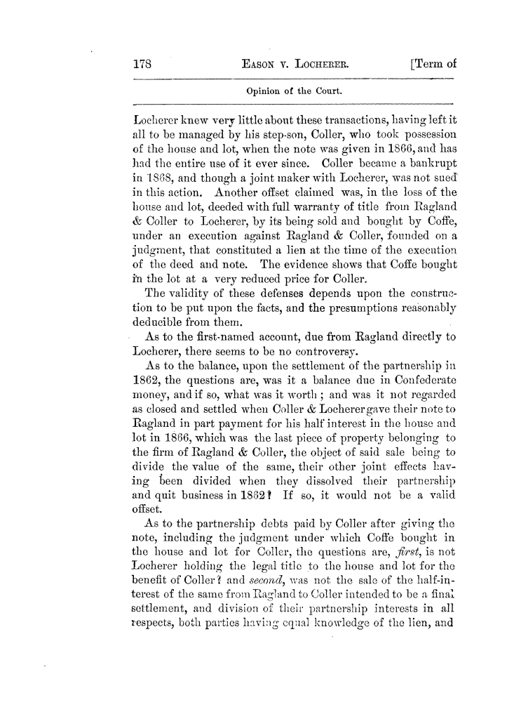 Cases argued and decided in the Supreme Court of Texas, during the latter part of the Tyler term, 1874, and the first part of the Galveston term, 1875.  Volume 42.                                                                                                      178