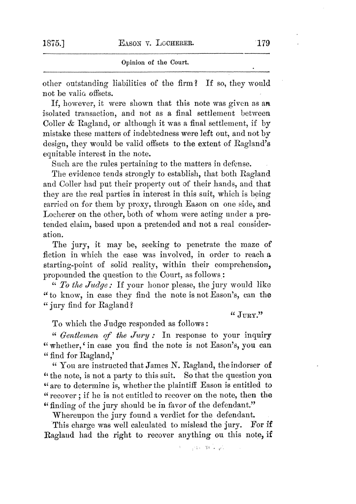 Cases argued and decided in the Supreme Court of Texas, during the latter part of the Tyler term, 1874, and the first part of the Galveston term, 1875.  Volume 42.                                                                                                      179