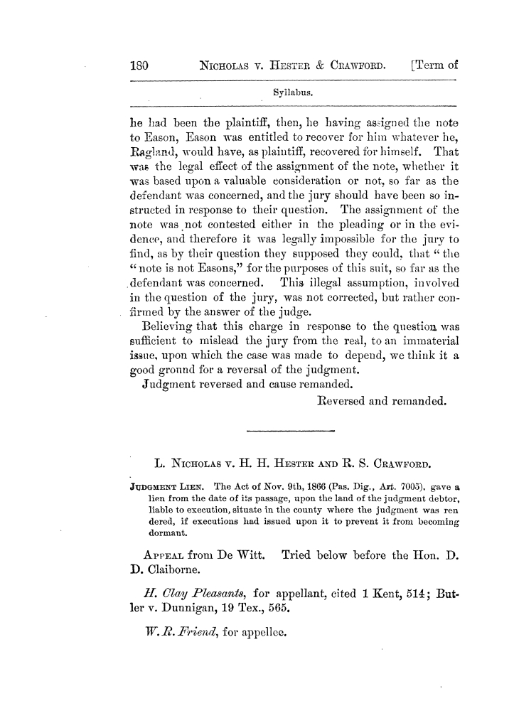 Cases argued and decided in the Supreme Court of Texas, during the latter part of the Tyler term, 1874, and the first part of the Galveston term, 1875.  Volume 42.                                                                                                      180