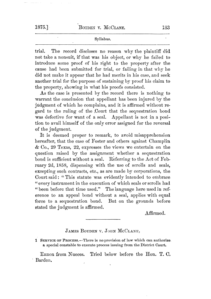 Cases argued and decided in the Supreme Court of Texas, during the latter part of the Tyler term, 1874, and the first part of the Galveston term, 1875.  Volume 42.                                                                                                      183