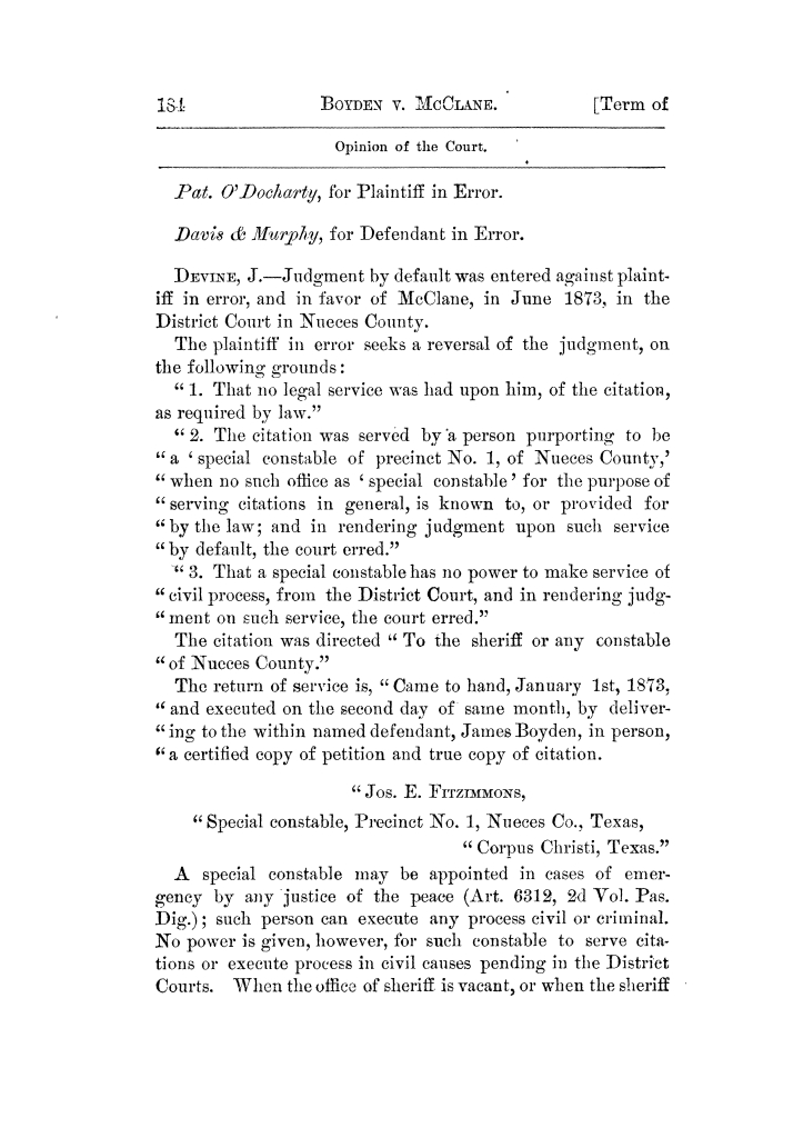 Cases argued and decided in the Supreme Court of Texas, during the latter part of the Tyler term, 1874, and the first part of the Galveston term, 1875.  Volume 42.                                                                                                      184