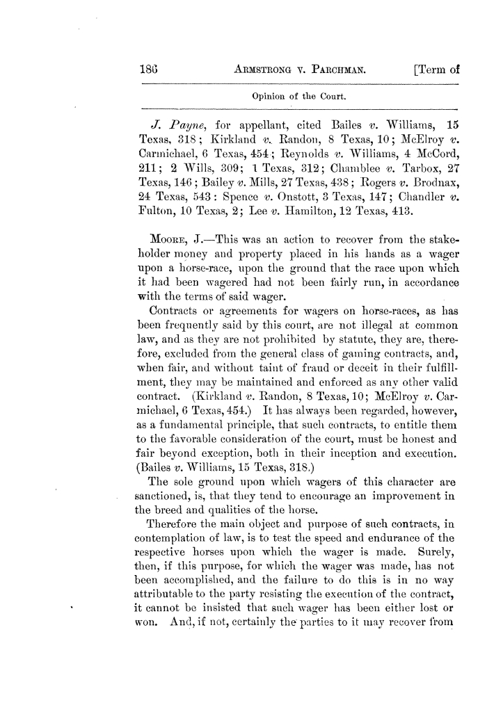 Cases argued and decided in the Supreme Court of Texas, during the latter part of the Tyler term, 1874, and the first part of the Galveston term, 1875.  Volume 42.                                                                                                      186