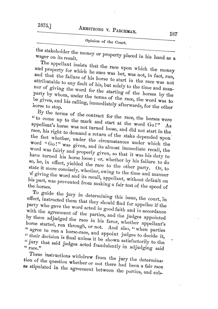Cases argued and decided in the Supreme Court of Texas, during the latter part of the Tyler term, 1874, and the first part of the Galveston term, 1875.  Volume 42.                                                                                                      187