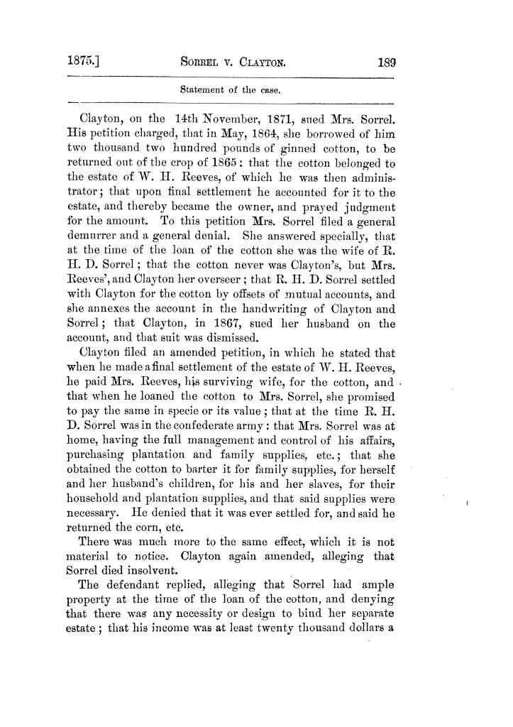 Cases argued and decided in the Supreme Court of Texas, during the latter part of the Tyler term, 1874, and the first part of the Galveston term, 1875.  Volume 42.                                                                                                      189