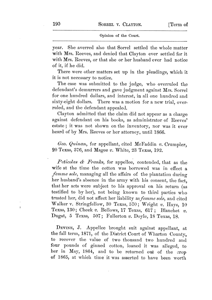 Cases argued and decided in the Supreme Court of Texas, during the latter part of the Tyler term, 1874, and the first part of the Galveston term, 1875.  Volume 42.                                                                                                      190