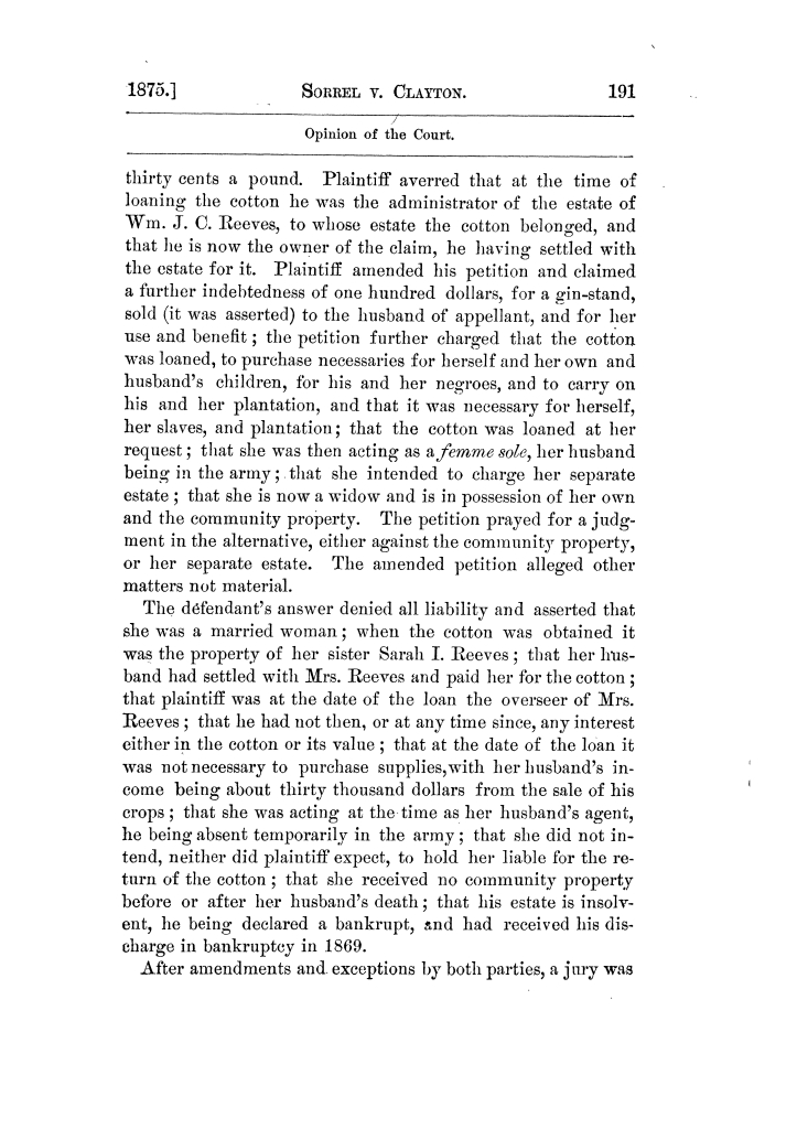 Cases argued and decided in the Supreme Court of Texas, during the latter part of the Tyler term, 1874, and the first part of the Galveston term, 1875.  Volume 42.                                                                                                      191