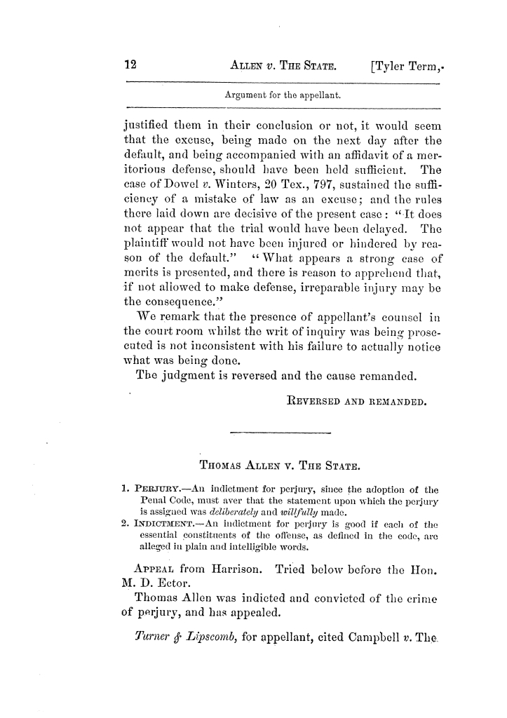 Cases argued and decided in the Supreme Court of Texas, during the latter part of the Tyler term, 1874, and the first part of the Galveston term, 1875.  Volume 42.                                                                                                      12