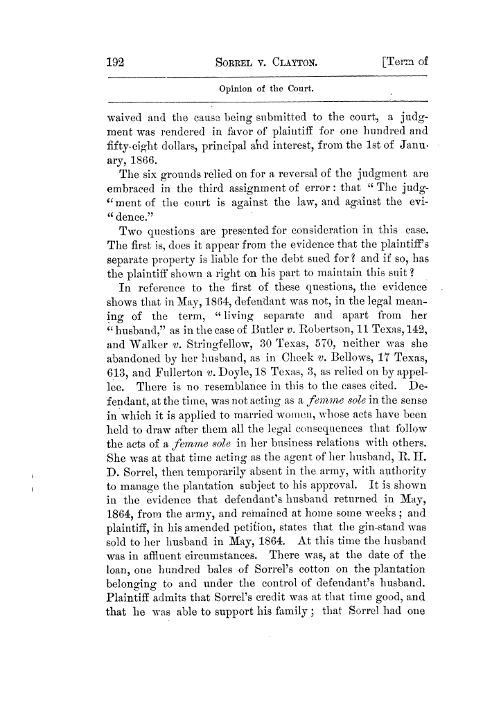 Cases argued and decided in the Supreme Court of Texas, during the latter part of the Tyler term, 1874, and the first part of the Galveston term, 1875.  Volume 42.                                                                                                      192