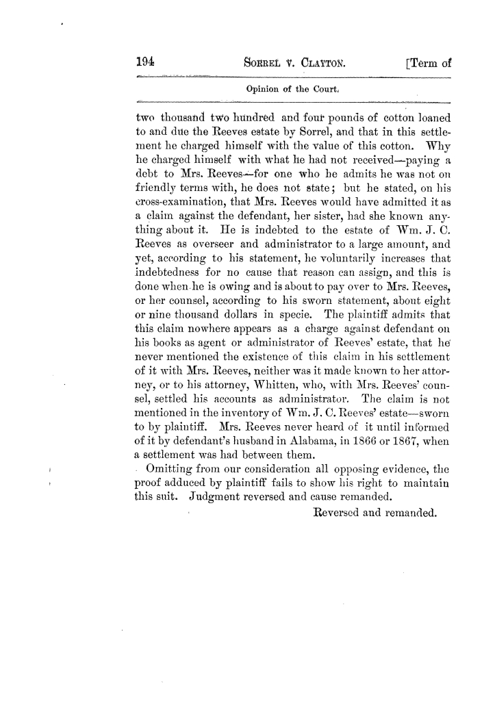 Cases argued and decided in the Supreme Court of Texas, during the latter part of the Tyler term, 1874, and the first part of the Galveston term, 1875.  Volume 42.                                                                                                      194