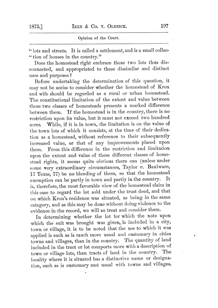 Cases argued and decided in the Supreme Court of Texas, during the latter part of the Tyler term, 1874, and the first part of the Galveston term, 1875.  Volume 42.                                                                                                      197