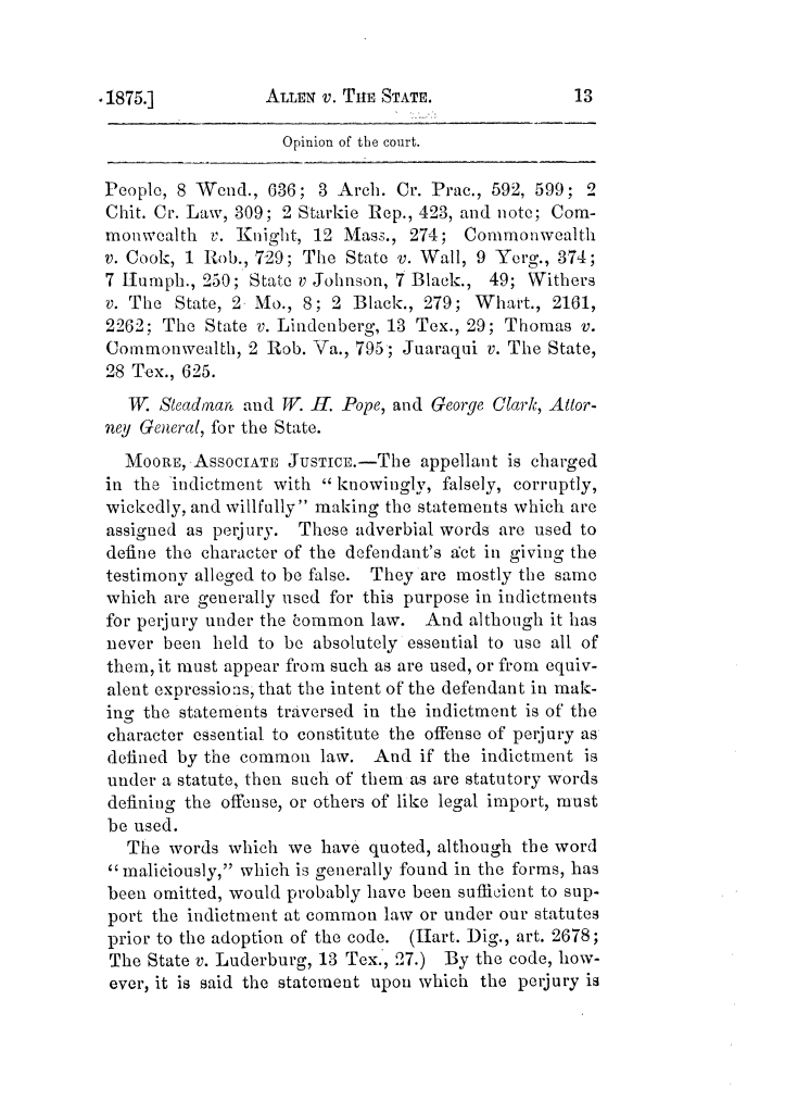 Cases argued and decided in the Supreme Court of Texas, during the latter part of the Tyler term, 1874, and the first part of the Galveston term, 1875.  Volume 42.                                                                                                      13