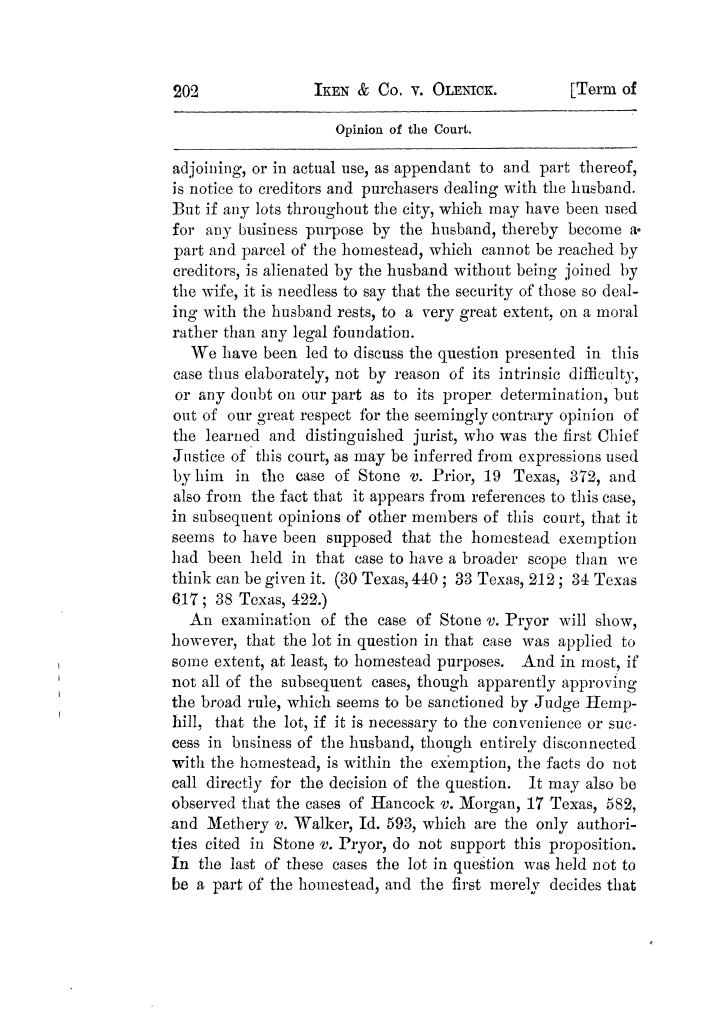Cases argued and decided in the Supreme Court of Texas, during the latter part of the Tyler term, 1874, and the first part of the Galveston term, 1875.  Volume 42.                                                                                                      202