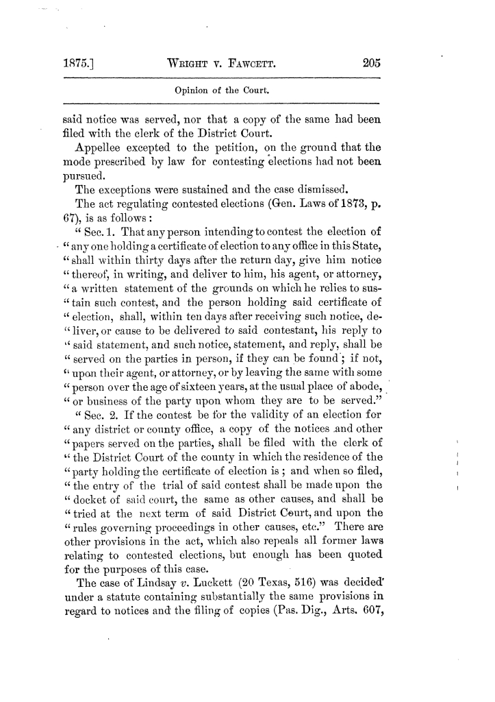Cases argued and decided in the Supreme Court of Texas, during the latter part of the Tyler term, 1874, and the first part of the Galveston term, 1875.  Volume 42.                                                                                                      205