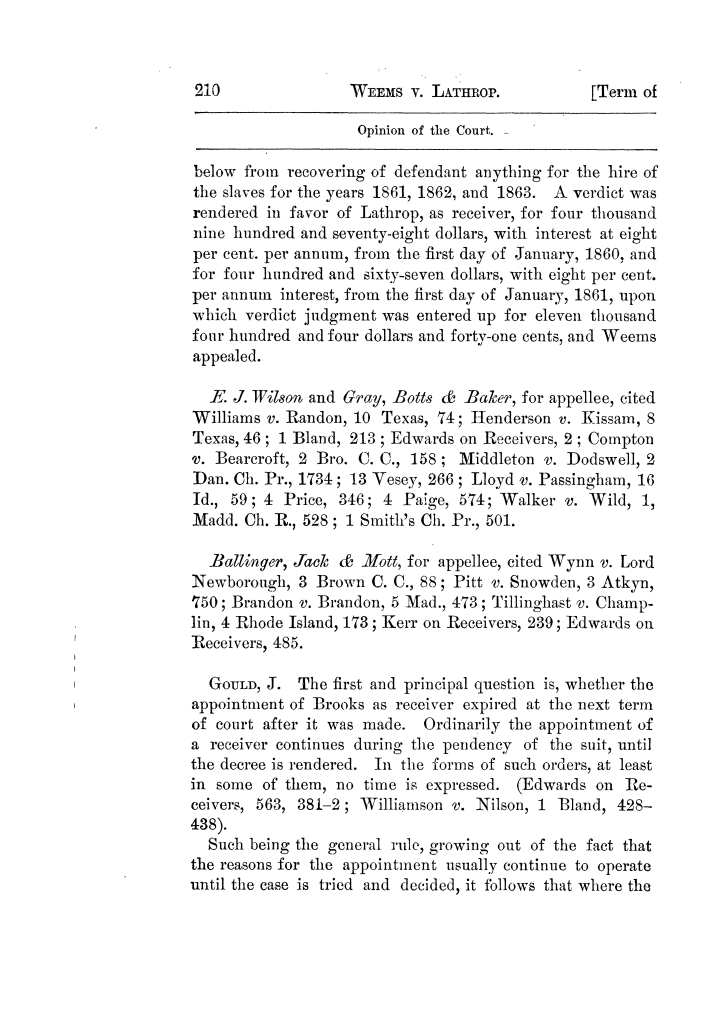 Cases argued and decided in the Supreme Court of Texas, during the latter part of the Tyler term, 1874, and the first part of the Galveston term, 1875.  Volume 42.                                                                                                      210