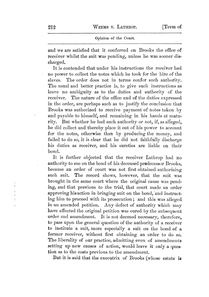Cases argued and decided in the Supreme Court of Texas, during the latter part of the Tyler term, 1874, and the first part of the Galveston term, 1875.  Volume 42.                                                                                                      212