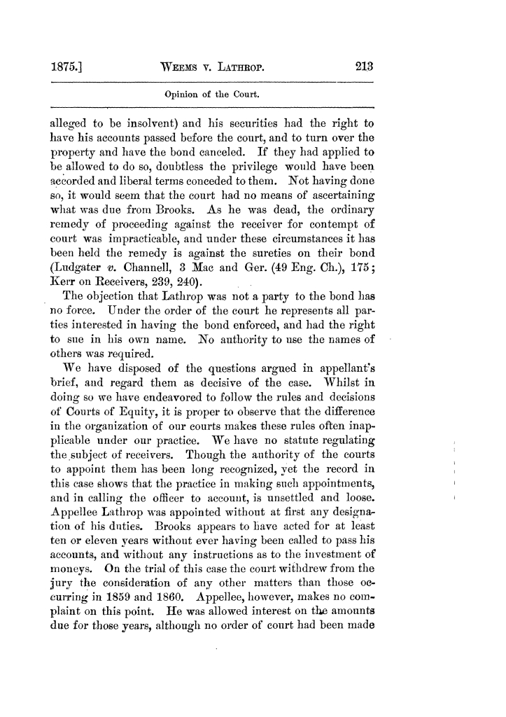 Cases argued and decided in the Supreme Court of Texas, during the latter part of the Tyler term, 1874, and the first part of the Galveston term, 1875.  Volume 42.                                                                                                      213