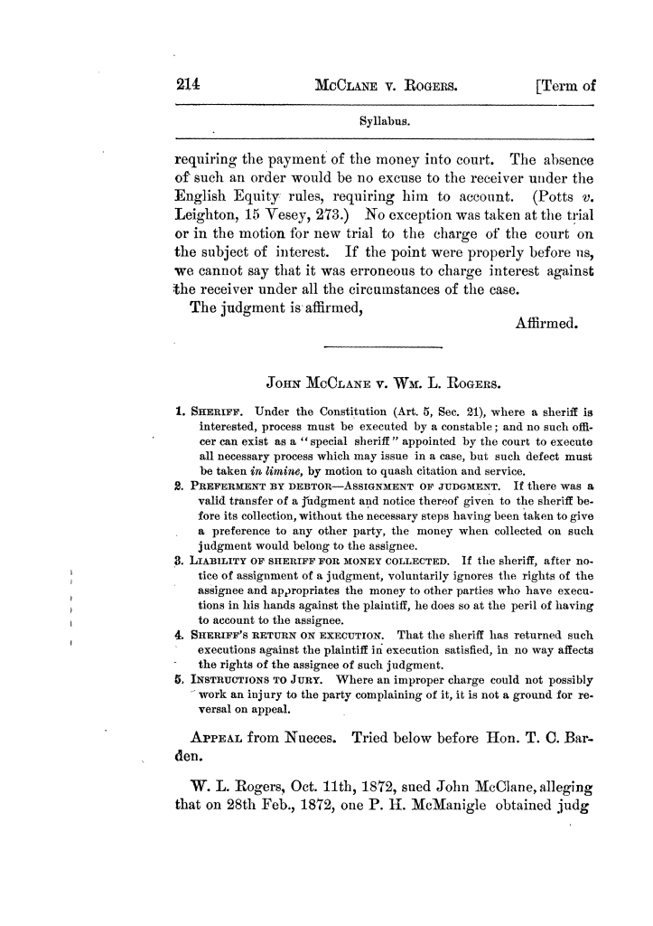 Cases argued and decided in the Supreme Court of Texas, during the latter part of the Tyler term, 1874, and the first part of the Galveston term, 1875.  Volume 42.                                                                                                      214