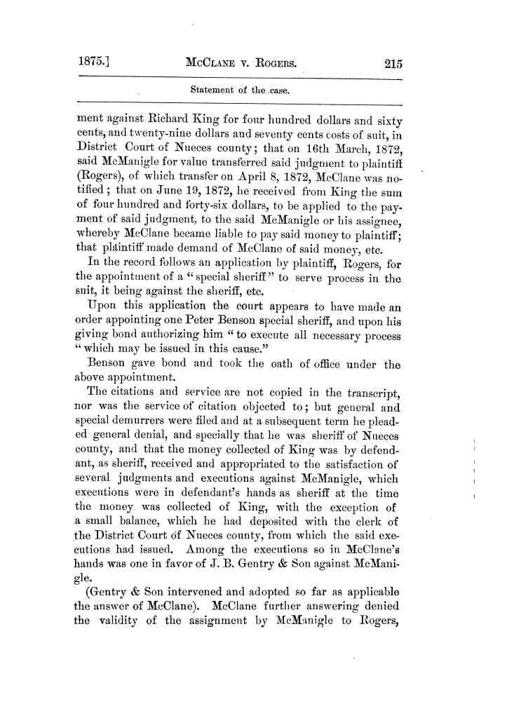 Cases argued and decided in the Supreme Court of Texas, during the latter part of the Tyler term, 1874, and the first part of the Galveston term, 1875.  Volume 42.                                                                                                      215