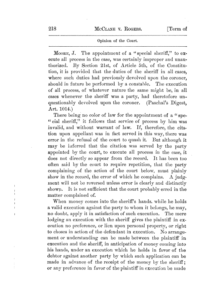 Cases argued and decided in the Supreme Court of Texas, during the latter part of the Tyler term, 1874, and the first part of the Galveston term, 1875.  Volume 42.                                                                                                      218