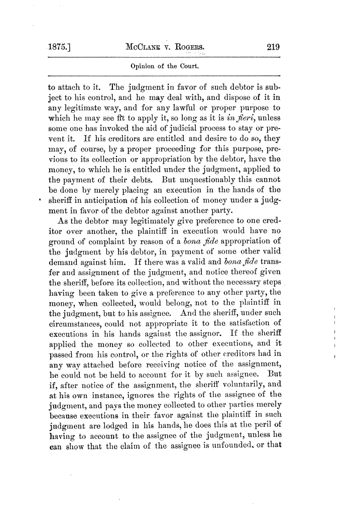 Cases argued and decided in the Supreme Court of Texas, during the latter part of the Tyler term, 1874, and the first part of the Galveston term, 1875.  Volume 42.                                                                                                      219