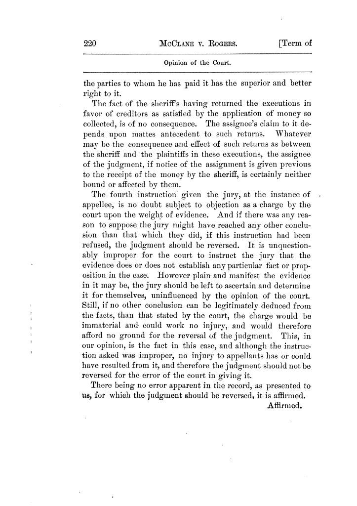 Cases argued and decided in the Supreme Court of Texas, during the latter part of the Tyler term, 1874, and the first part of the Galveston term, 1875.  Volume 42.                                                                                                      220