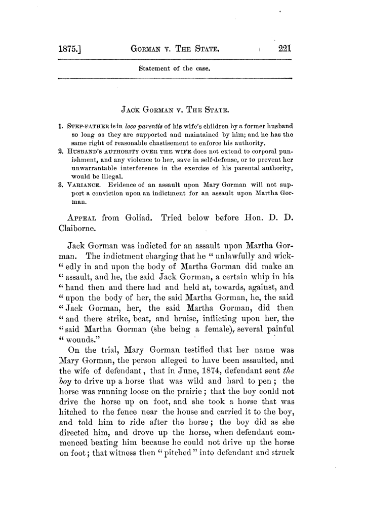Cases argued and decided in the Supreme Court of Texas, during the latter part of the Tyler term, 1874, and the first part of the Galveston term, 1875.  Volume 42.                                                                                                      221
