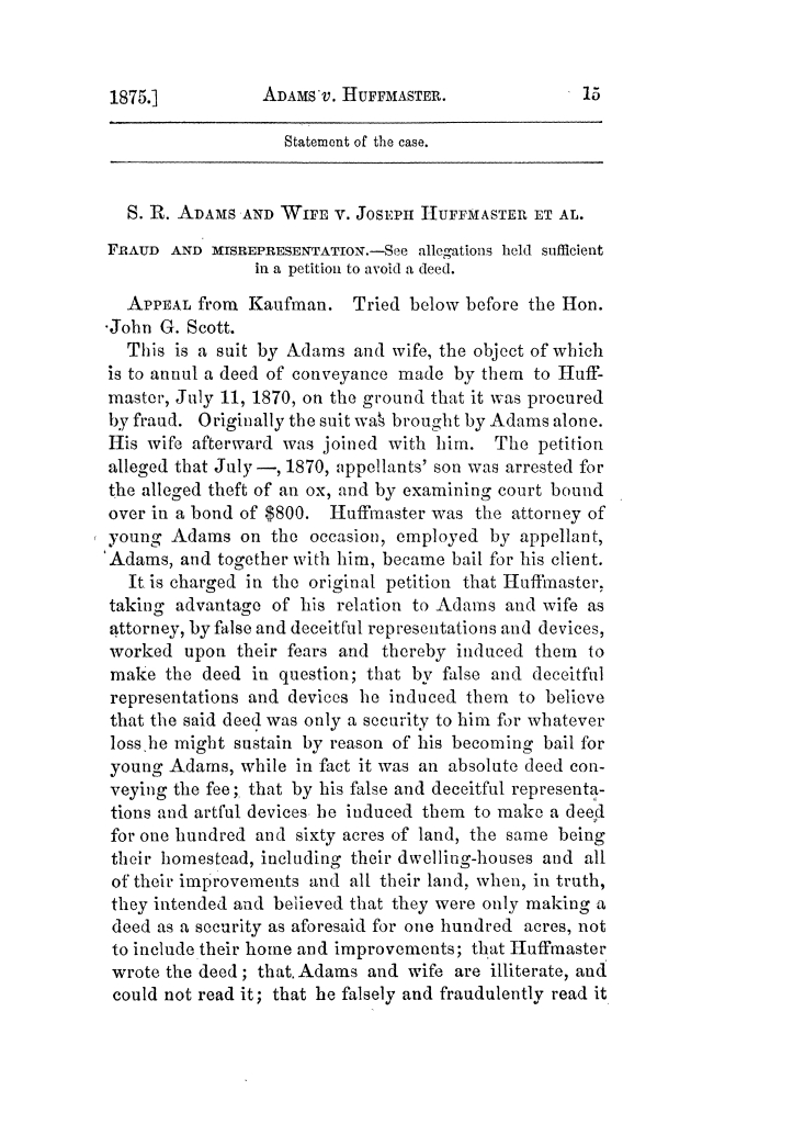 Cases argued and decided in the Supreme Court of Texas, during the latter part of the Tyler term, 1874, and the first part of the Galveston term, 1875.  Volume 42.                                                                                                      15