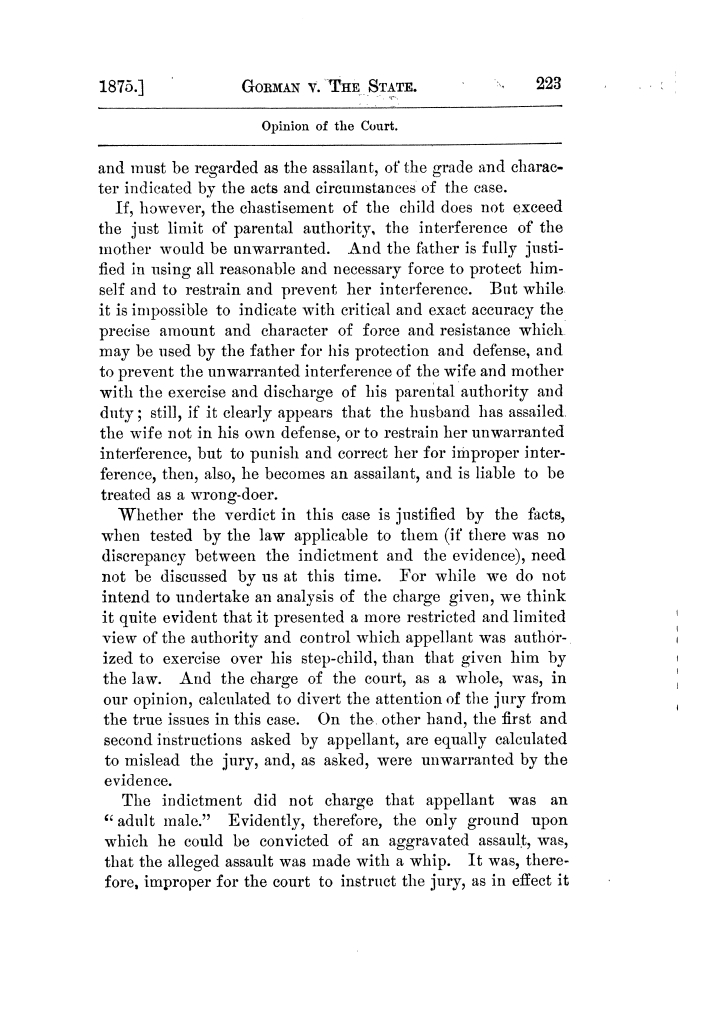 Cases argued and decided in the Supreme Court of Texas, during the latter part of the Tyler term, 1874, and the first part of the Galveston term, 1875.  Volume 42.                                                                                                      223