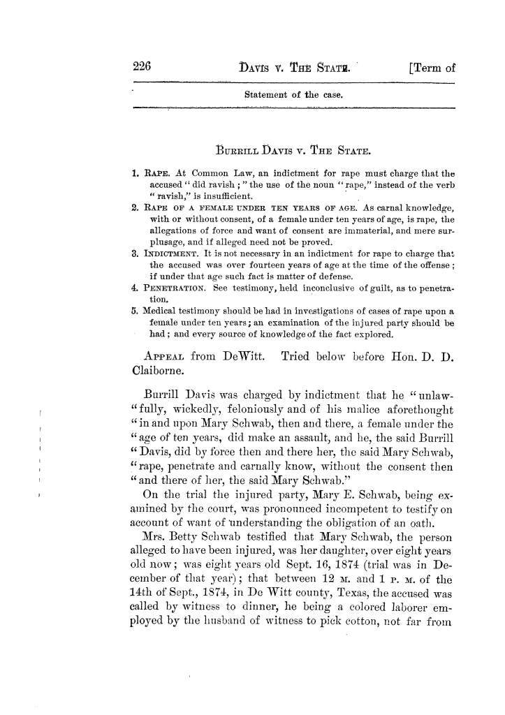 Cases argued and decided in the Supreme Court of Texas, during the latter part of the Tyler term, 1874, and the first part of the Galveston term, 1875.  Volume 42.                                                                                                      226