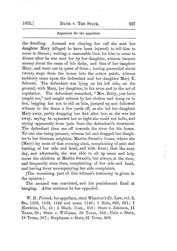 Cases argued and decided in the Supreme Court of Texas, during the latter part of the Tyler term, 1874, and the first part of the Galveston term, 1875.  Volume 42.                                                                                                      227