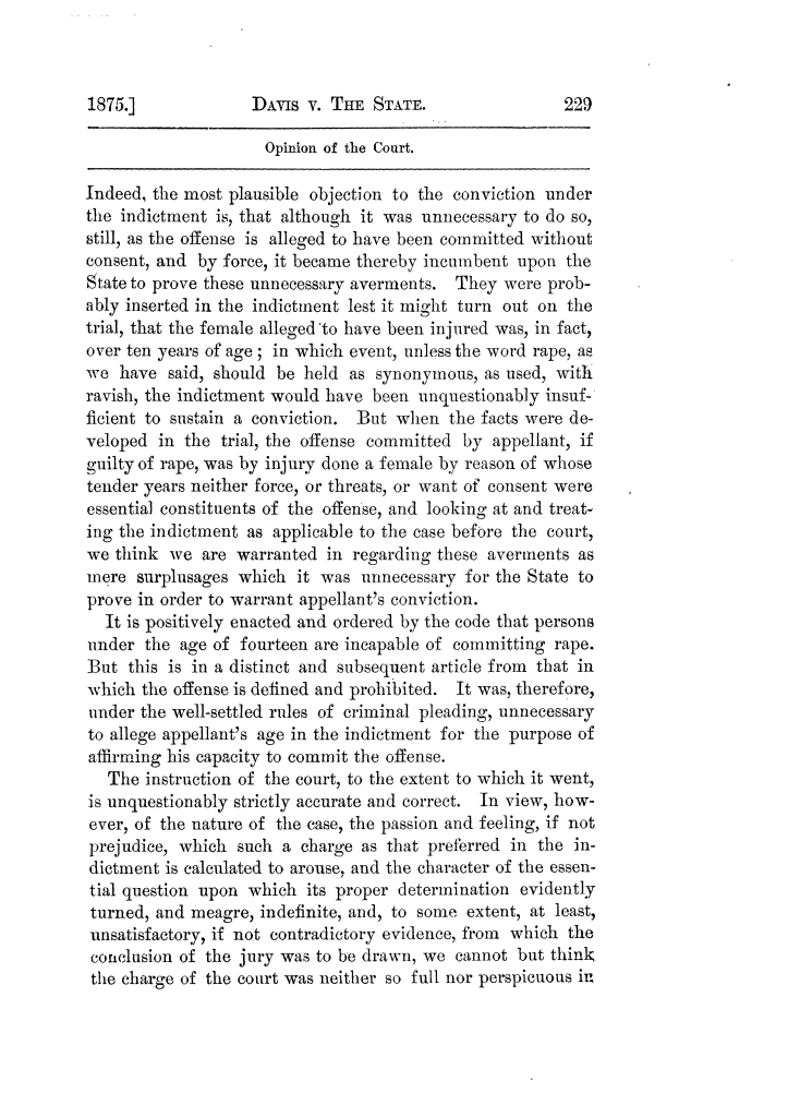 Cases argued and decided in the Supreme Court of Texas, during the latter part of the Tyler term, 1874, and the first part of the Galveston term, 1875.  Volume 42.                                                                                                      229