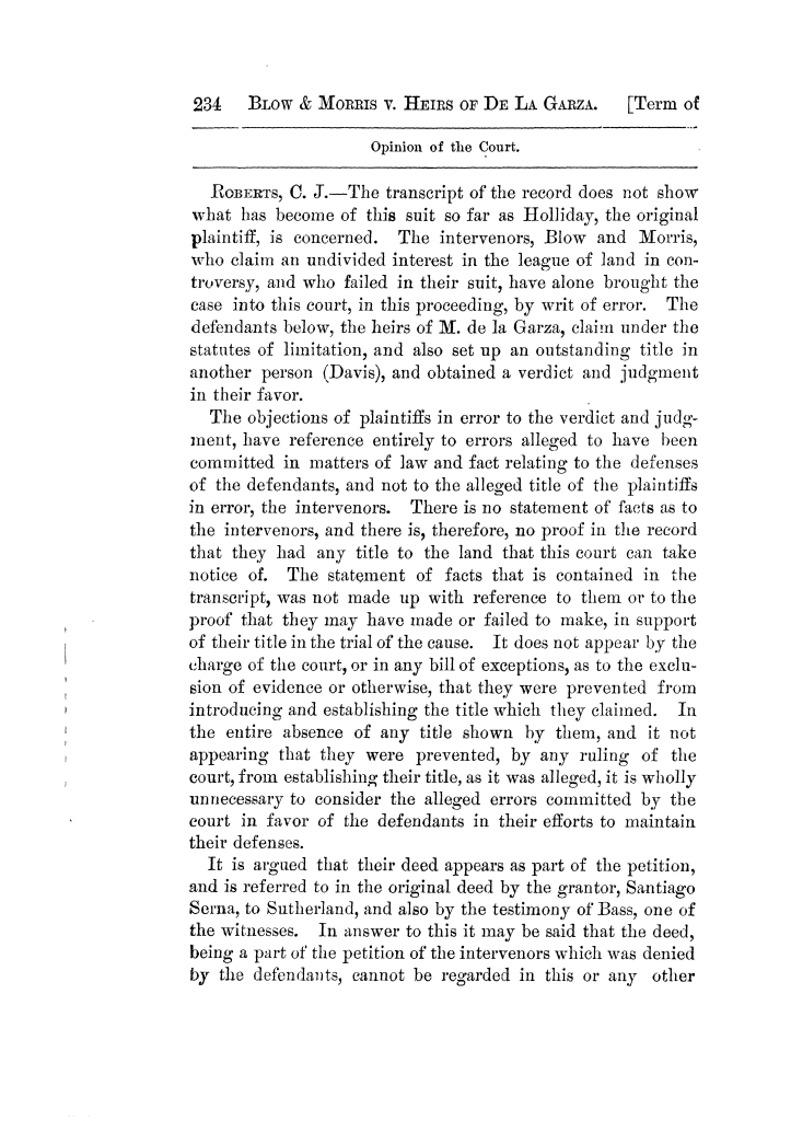 Cases argued and decided in the Supreme Court of Texas, during the latter part of the Tyler term, 1874, and the first part of the Galveston term, 1875.  Volume 42.                                                                                                      234