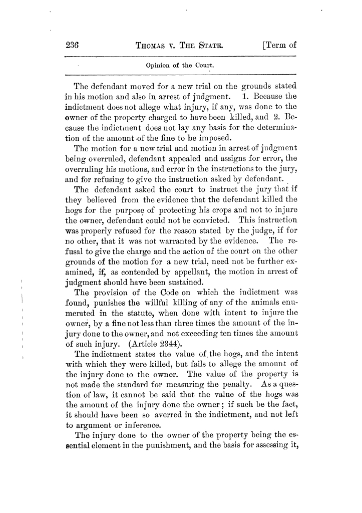 Cases argued and decided in the Supreme Court of Texas, during the latter part of the Tyler term, 1874, and the first part of the Galveston term, 1875.  Volume 42.                                                                                                      236