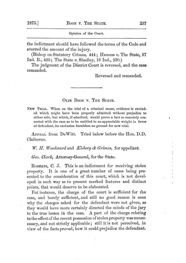 Cases argued and decided in the Supreme Court of Texas, during the latter part of the Tyler term, 1874, and the first part of the Galveston term, 1875.  Volume 42.                                                                                                      237