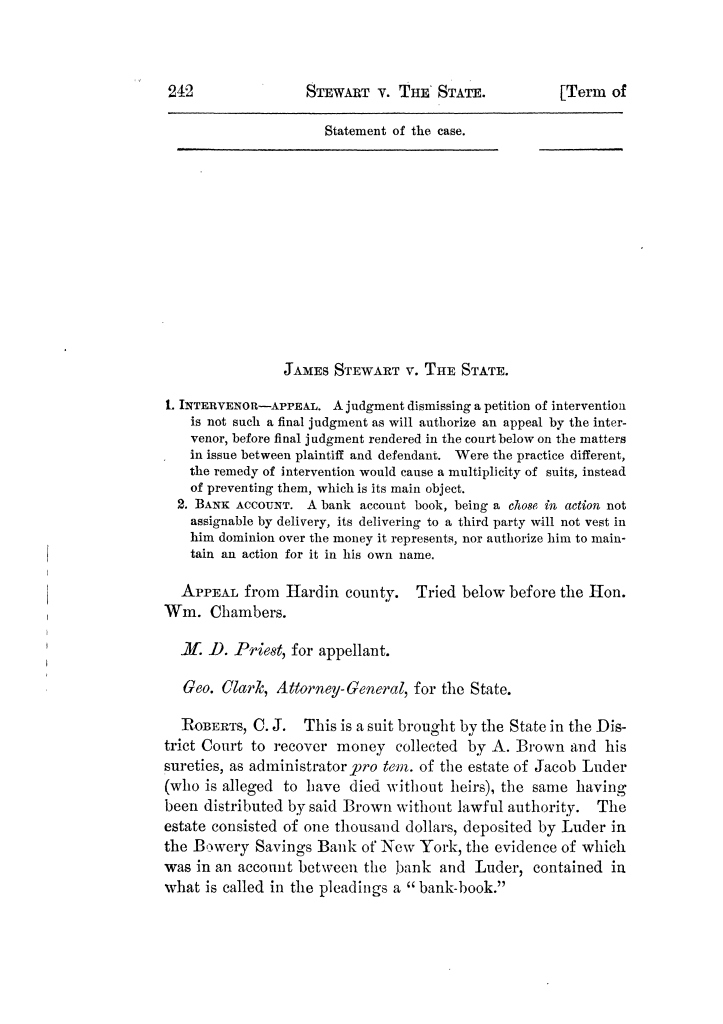 Cases argued and decided in the Supreme Court of Texas, during the latter part of the Tyler term, 1874, and the first part of the Galveston term, 1875.  Volume 42.                                                                                                      242