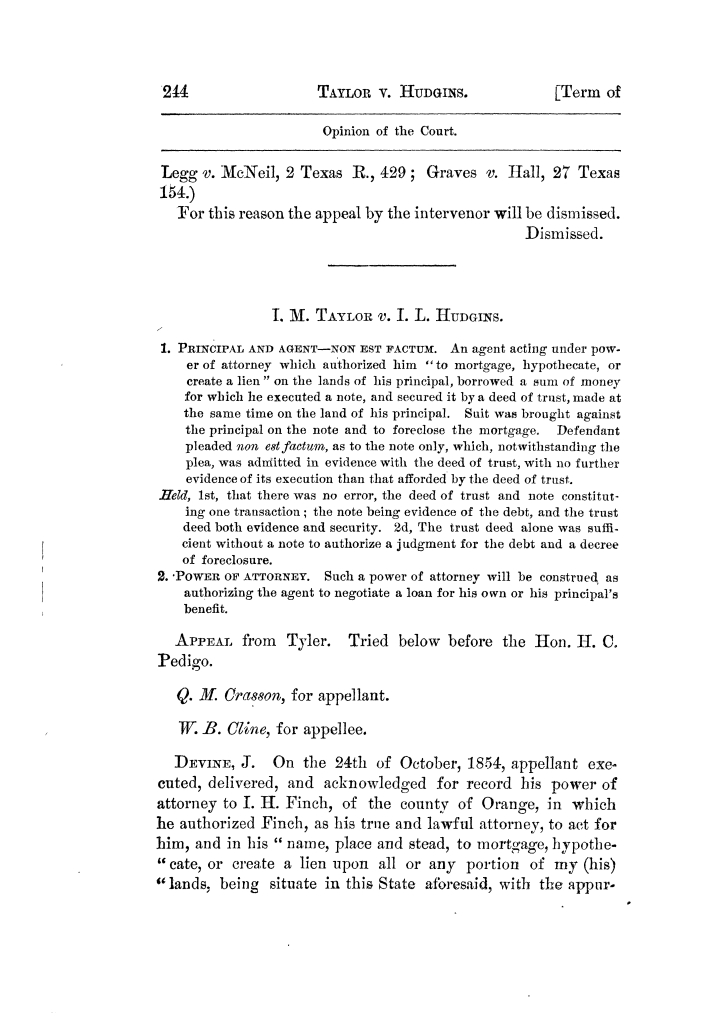 Cases argued and decided in the Supreme Court of Texas, during the latter part of the Tyler term, 1874, and the first part of the Galveston term, 1875.  Volume 42.                                                                                                      244