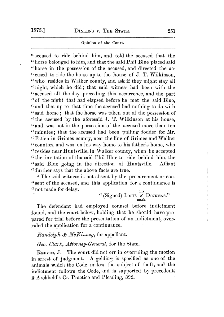 Cases argued and decided in the Supreme Court of Texas, during the latter part of the Tyler term, 1874, and the first part of the Galveston term, 1875.  Volume 42.                                                                                                      251