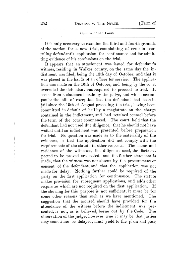 Cases argued and decided in the Supreme Court of Texas, during the latter part of the Tyler term, 1874, and the first part of the Galveston term, 1875.  Volume 42.                                                                                                      252