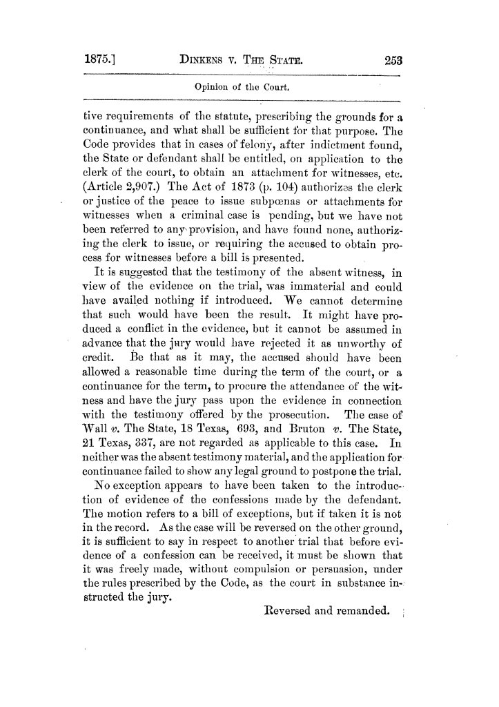 Cases argued and decided in the Supreme Court of Texas, during the latter part of the Tyler term, 1874, and the first part of the Galveston term, 1875.  Volume 42.                                                                                                      253