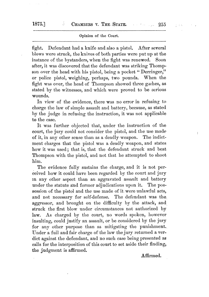Cases argued and decided in the Supreme Court of Texas, during the latter part of the Tyler term, 1874, and the first part of the Galveston term, 1875.  Volume 42.                                                                                                      255
