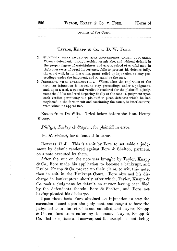 Cases argued and decided in the Supreme Court of Texas, during the latter part of the Tyler term, 1874, and the first part of the Galveston term, 1875.  Volume 42.                                                                                                      256