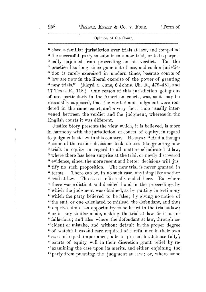 Cases argued and decided in the Supreme Court of Texas, during the latter part of the Tyler term, 1874, and the first part of the Galveston term, 1875.  Volume 42.                                                                                                      258
