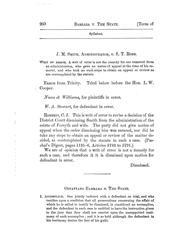 Cases argued and decided in the Supreme Court of Texas, during the latter part of the Tyler term, 1874, and the first part of the Galveston term, 1875.  Volume 42.                                                                                                      260