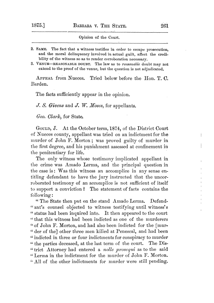 Cases argued and decided in the Supreme Court of Texas, during the latter part of the Tyler term, 1874, and the first part of the Galveston term, 1875.  Volume 42.                                                                                                      261
